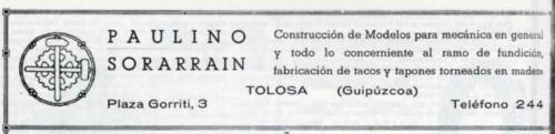 Anuncio original con el primer logotipo y número de teléfono de Paulino Sorarrain